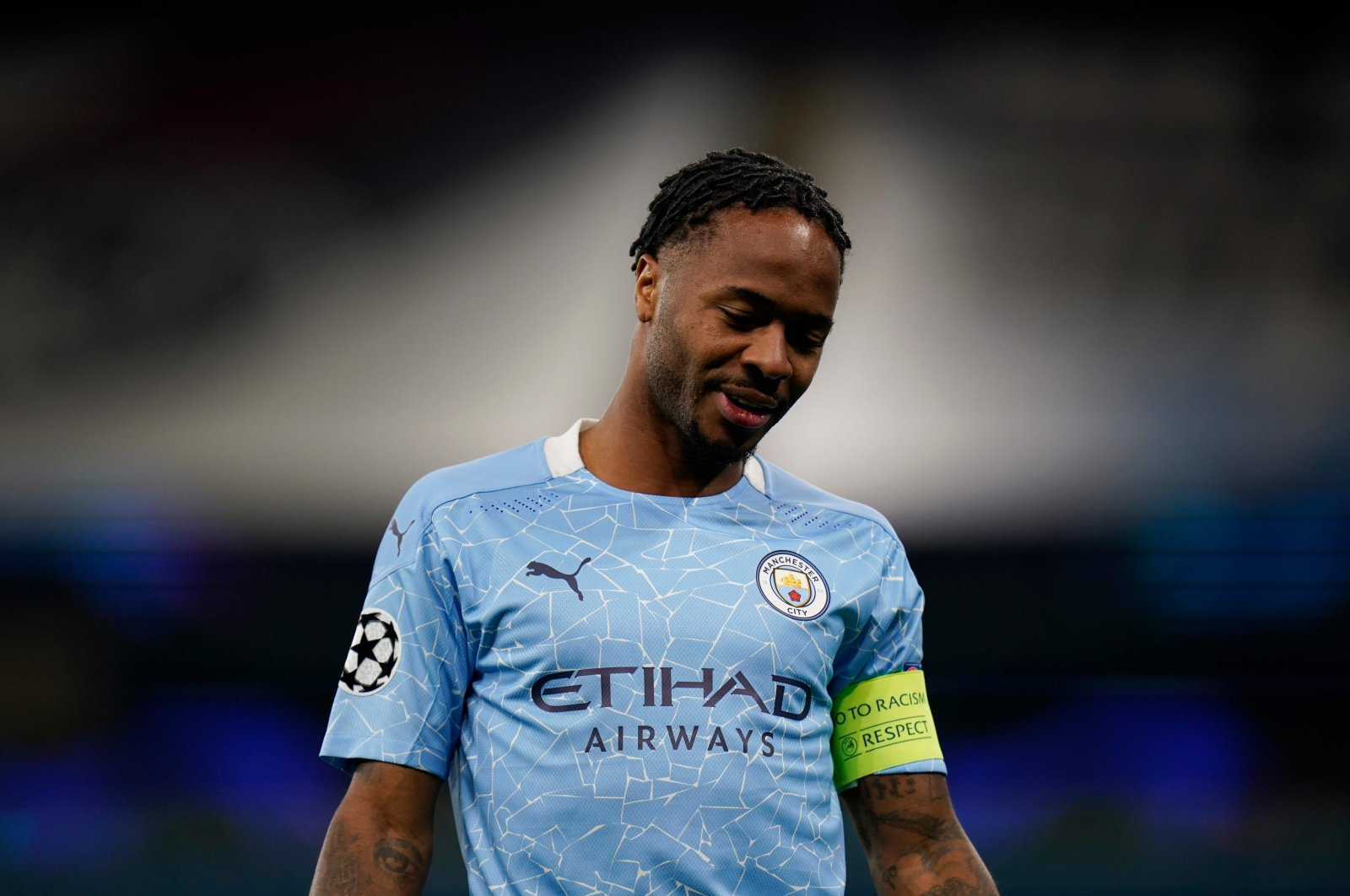 Manchester City's Raheem Sterling reacts during a Champions League match against Porto, in Manchester, England, Oct. 21, 2020. (AFP Photo)