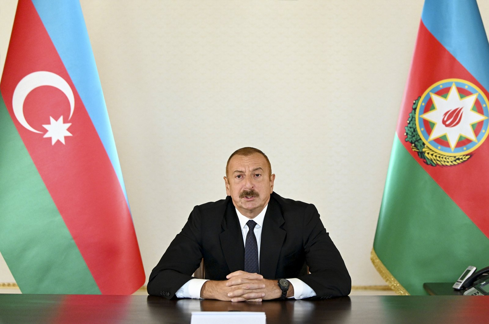 In this photo provided by Azerbaijan's Presidential Press Office, Azerbaijani President Ilham Aliyev addresses the nation in Baku, Azerbaijan, Sept. 27, 2020. (AP File Photo)