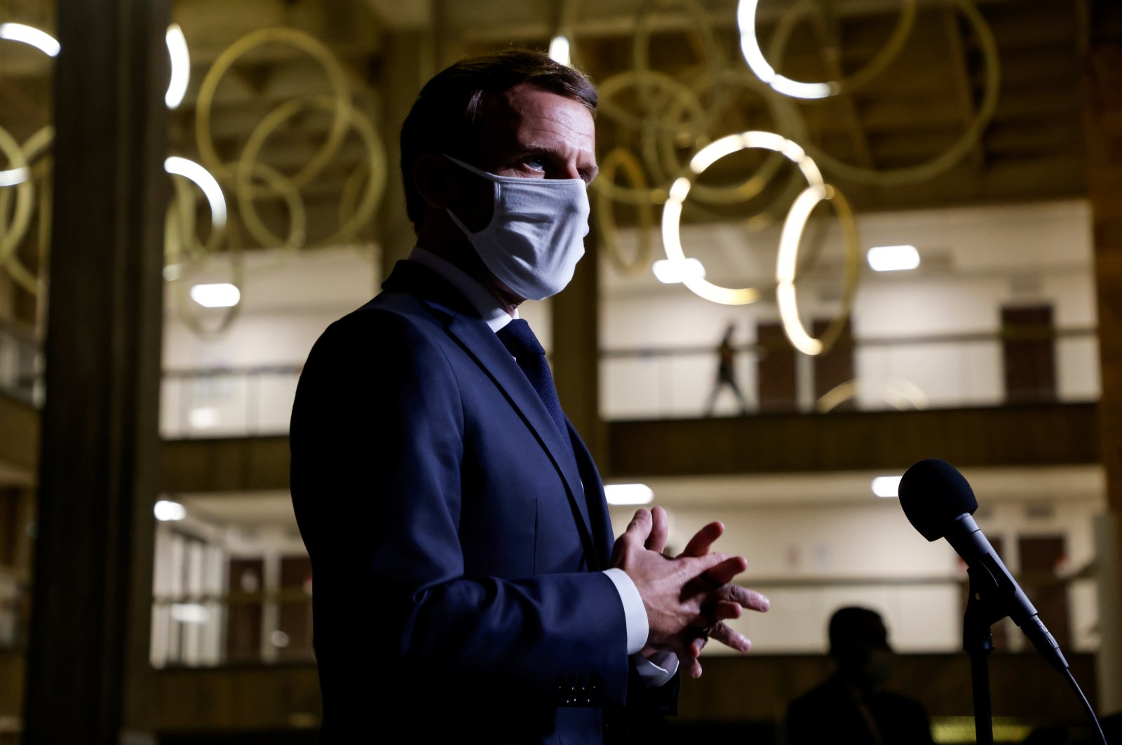 French President Emmanuel Macron wearing a face mask delivers a speech at the Seine-Saint-Denis prefecture headquarters in Bobigny, near Paris, France, Oct. 20, 2020. (Reuters Photo)