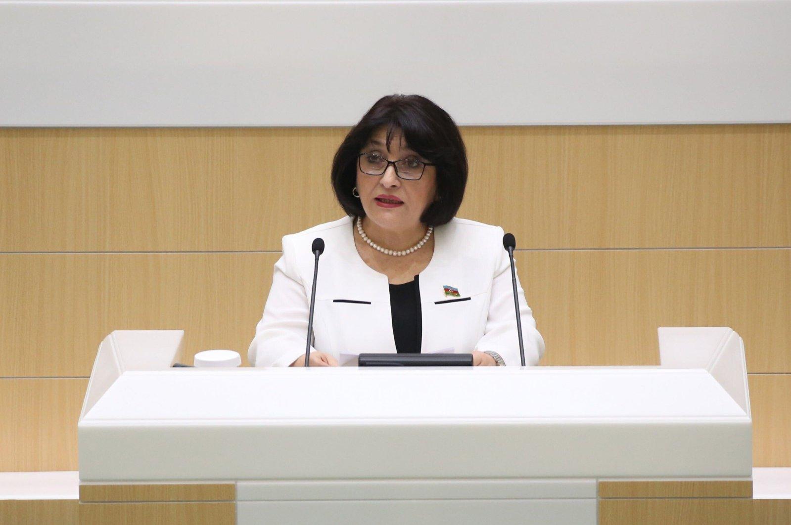 Azerbaijan's Parliament Speaker Sahibe Gafarova speaking at a session in Baku, Azerbaijan (Courtesy of the Azerbaijani Parliament)