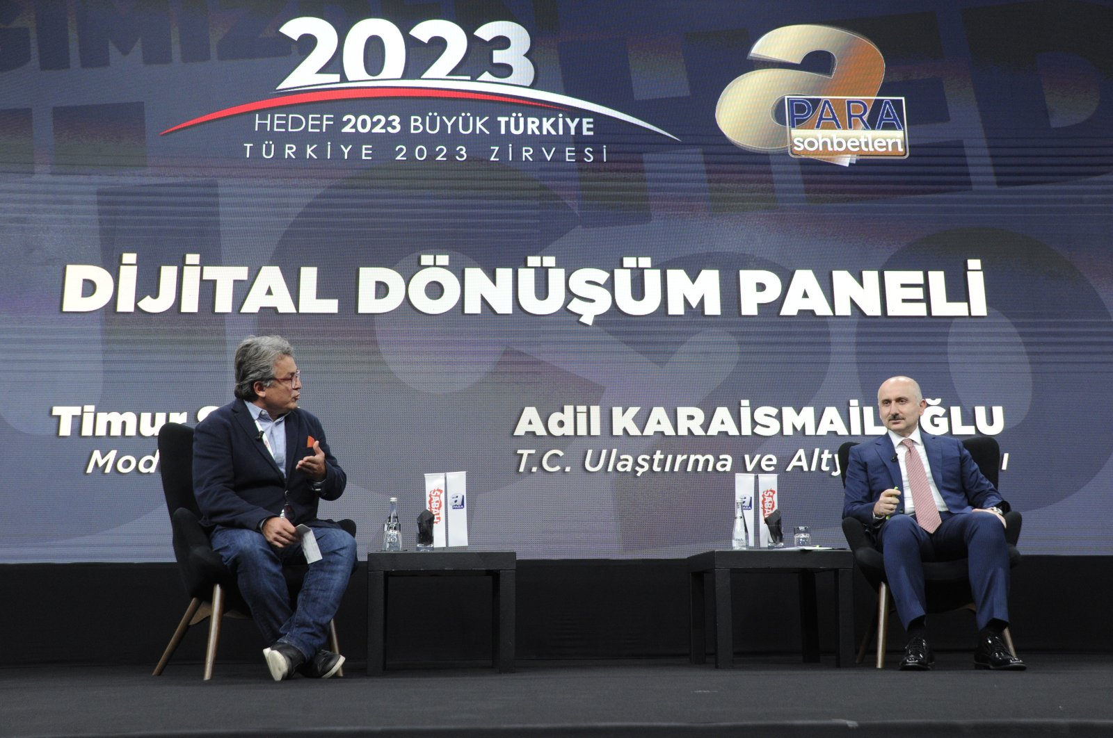 Transport and Infrastructure Minister Adil Karaismailoğlu (R) speaks during the 3rd Turkey 2023 Summit in Istanbul, Turkey, Oct. 22, 2020. (IHA Photo)