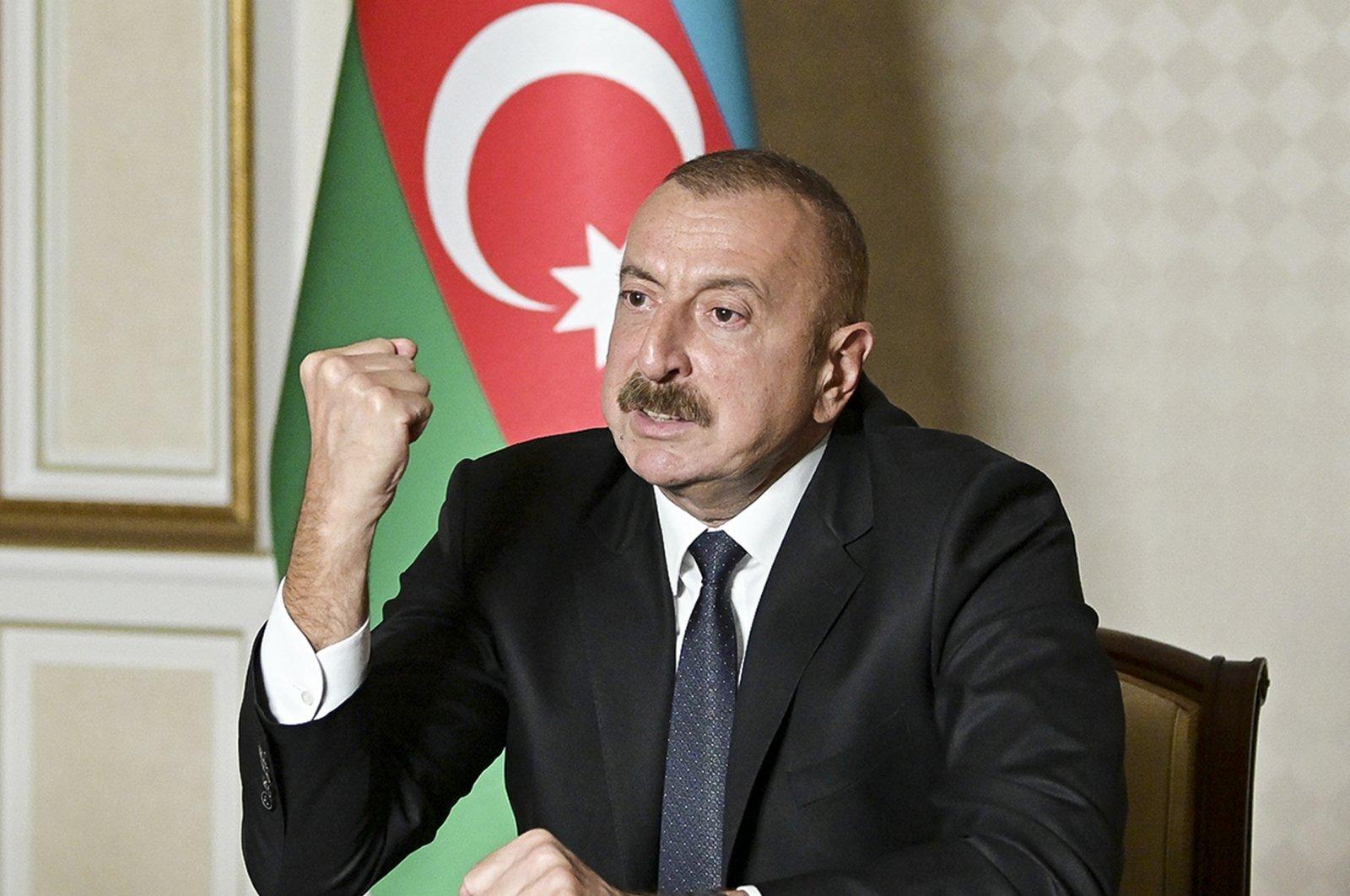 Azerbaijani President Ilham Aliyev gestures as he addresses the nation in Baku, Azerbaijan, Oct. 20, 2020. (AP)