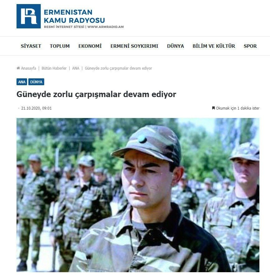 The Public Radio of Armenia's officialwebsite used photos of famous Turkish pop singer Serdar Ortaç in a military uniform while reporting on the casualties suffered by the Azerbaijani army, Oct. 22, 2020. (İHA Photo)