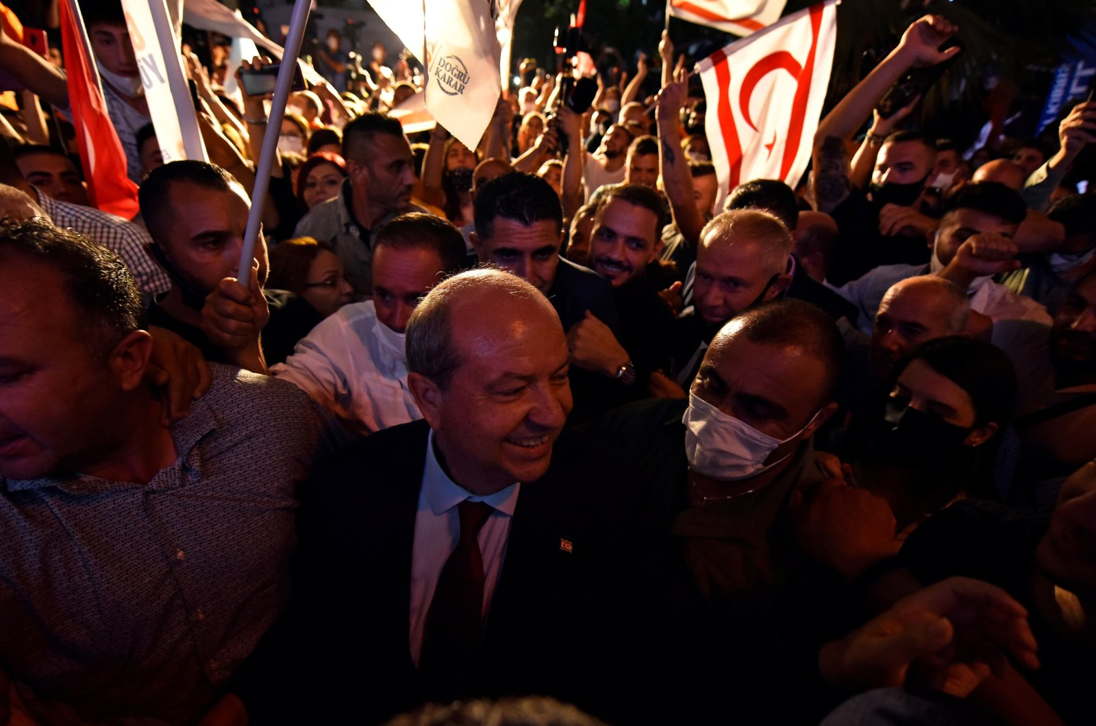 President-elect Ersin Tatar celebrates his election victoryin the Turkish Republic of Northern Cyprus (TRNC) in Lefkoşa, Oct. 18, 2020. (Reuters Photo)