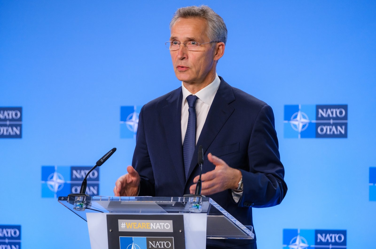 NATO Secretary-General Jens Stoltenberg speaks during a press conference in Brussels, Oct. 21, 2020. (AA Photo)