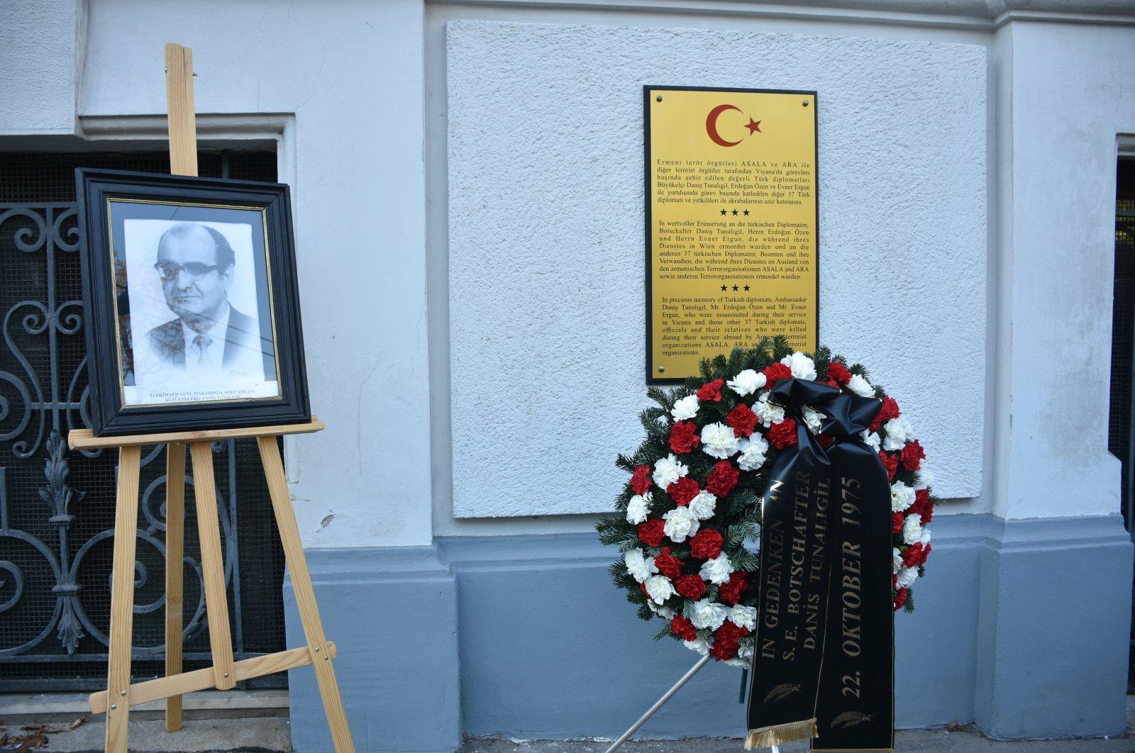 Former Turkish Ambassador to Vienna Danış Tunalıgil, who was killed by Armenian terrorist groups, is remembered at the Turkish Embassy in Vienna, Oct. 22, 2020. (AA)