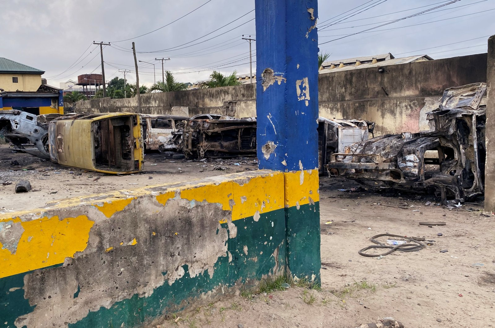 Burnt vehicles are pictured at a damaged police station, Lagos, Nigeria, Oct. 23, 2020. (REUTERS Photo)