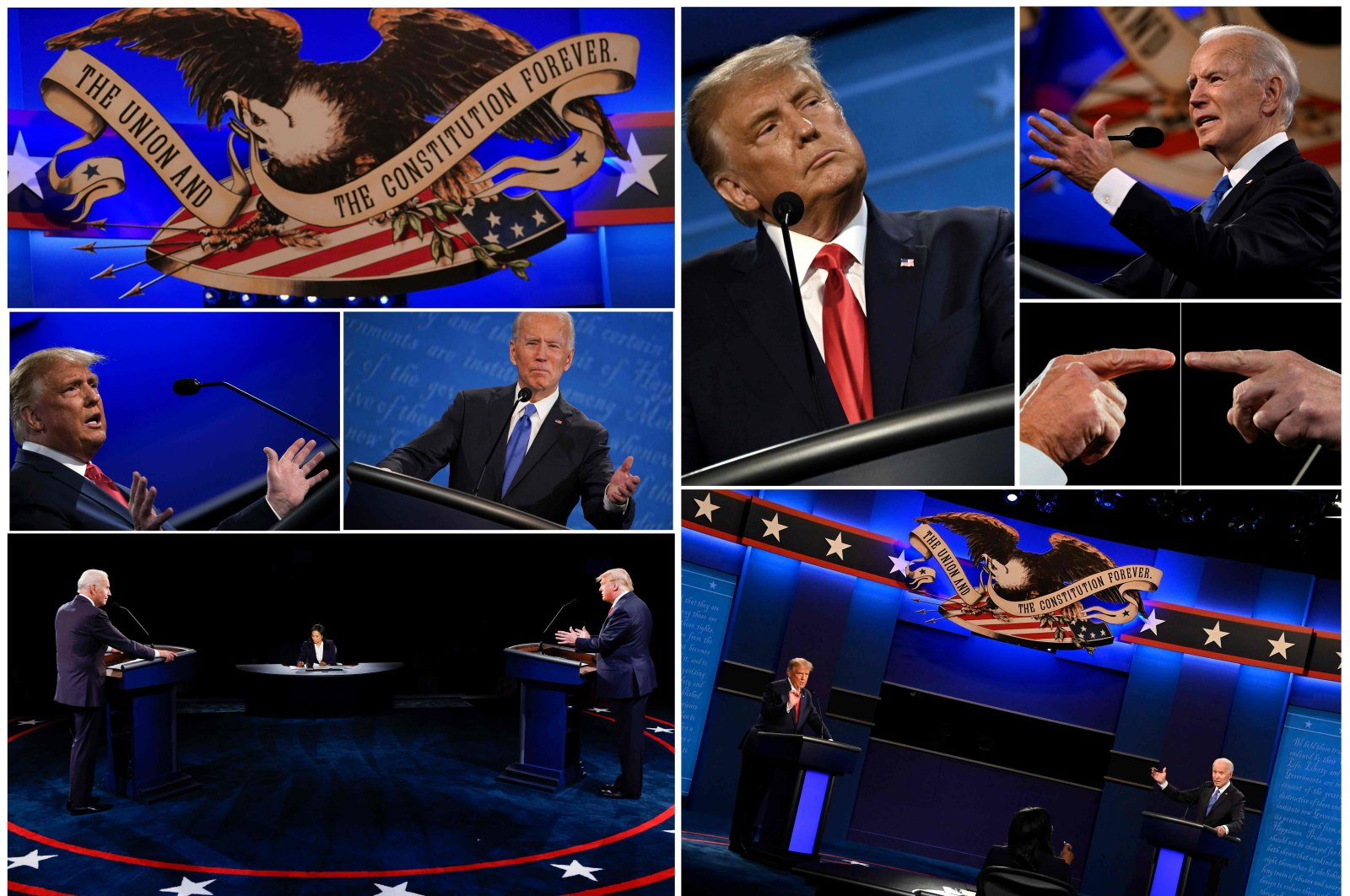 This combination of pictures created on Oct. 22, 2020, shows U.S. President Donald Trump and Democratic presidential candidate Joe Biden during the second and final presidential debate in Nashville, Tennessee. (AFP Photo)