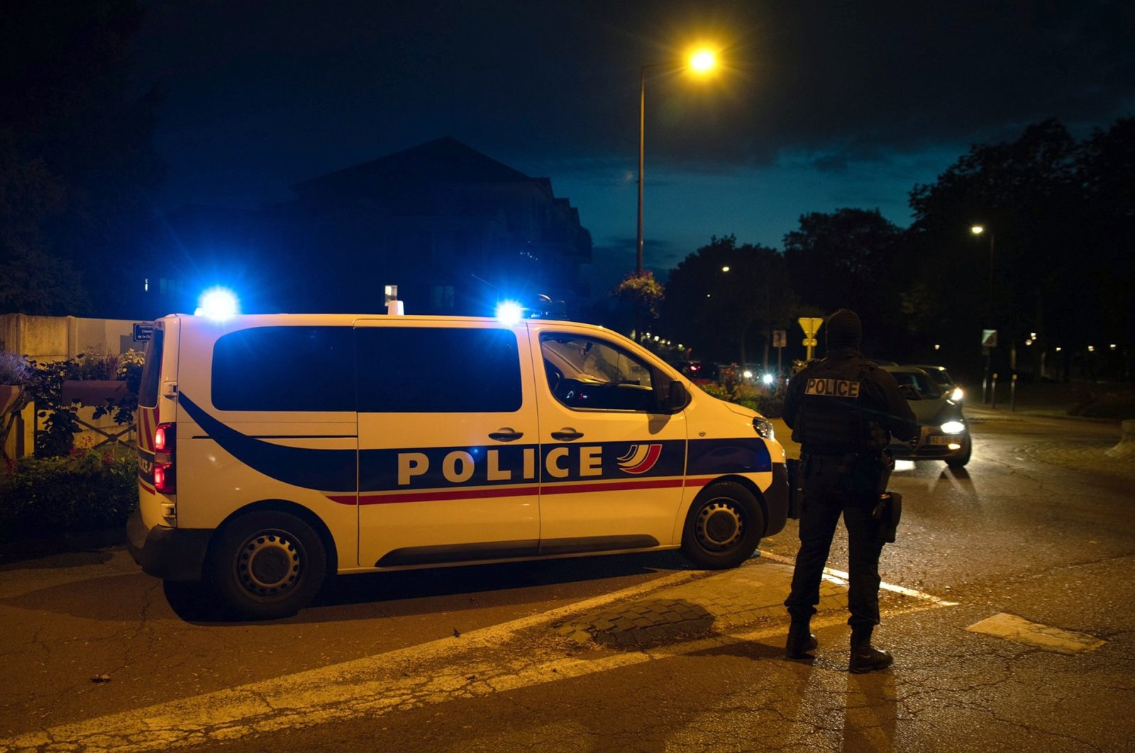 French police officers stand guard a street, Eragny, Oct. 16, 2020. (AFP Photo)
