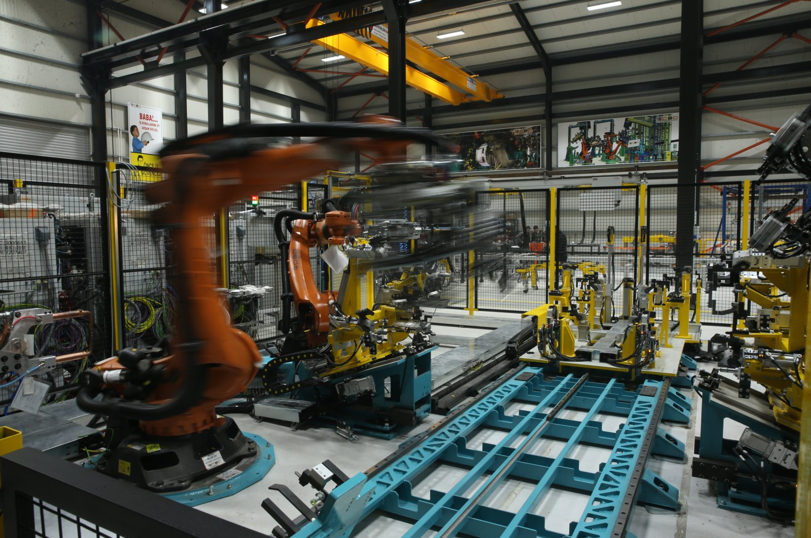 Robot systems are seen at a factory in Kocaeli province, northwestern Turkey, May 15, 2019. (AA Photo)