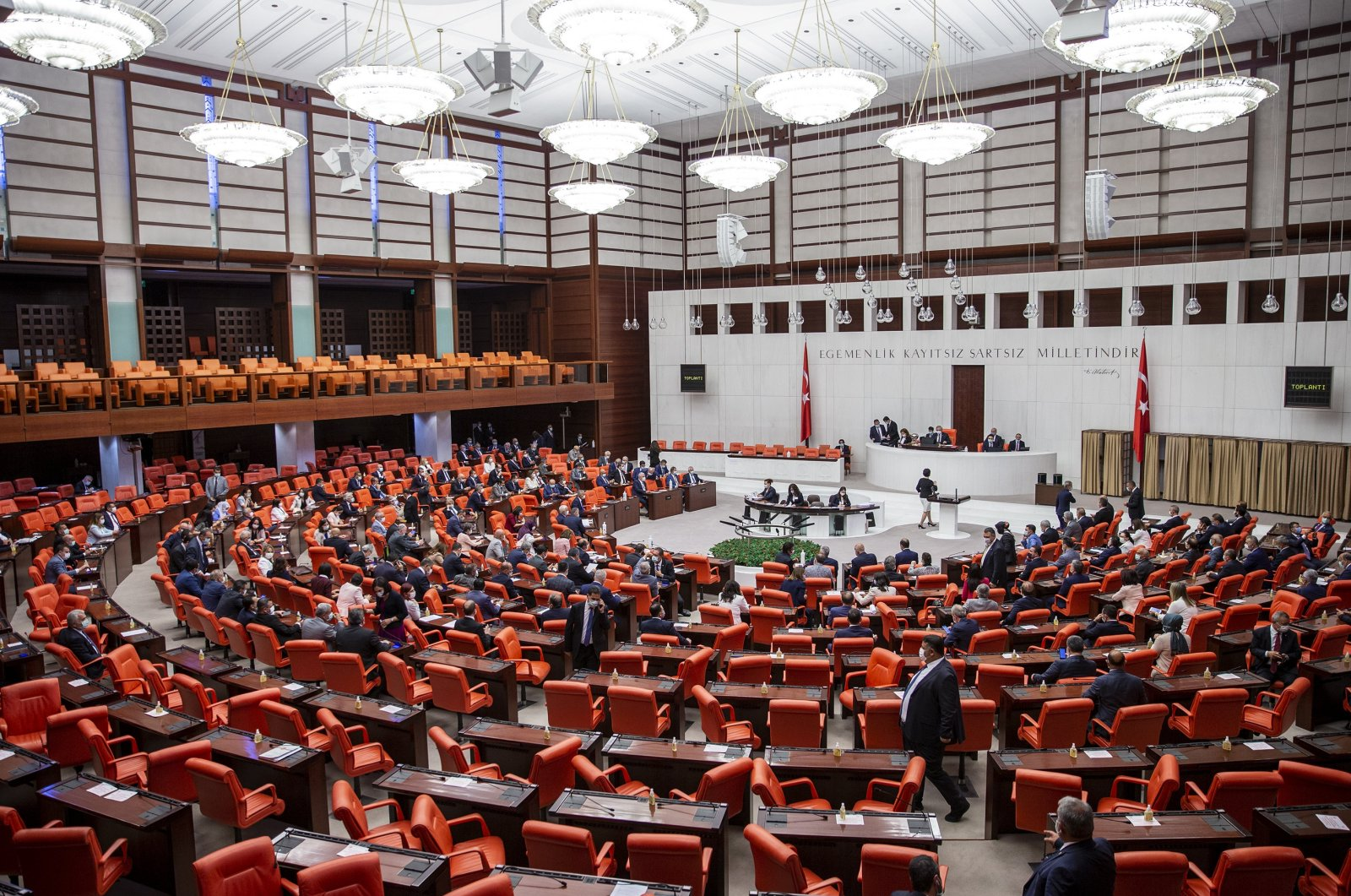 Turkish lawmakers assemble at the Turkish Parliament in the capital Ankara, June 8, 2020. (AA Photo)