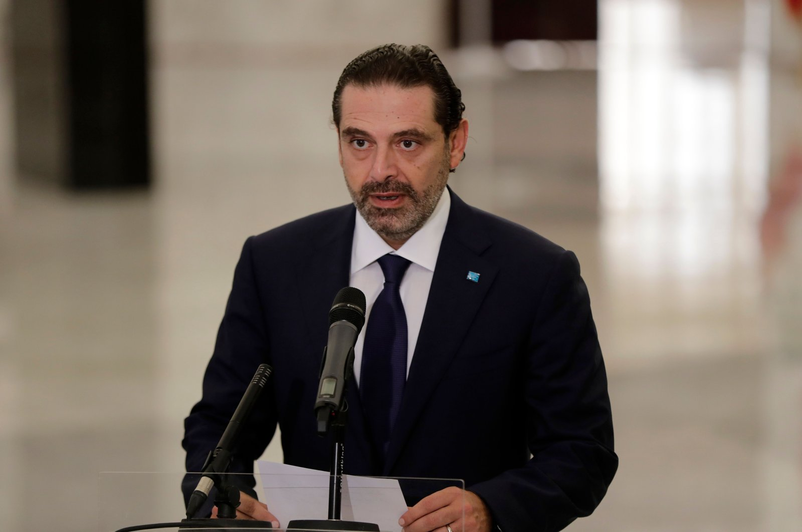 Former Lebanese Prime Minister Saad Hariri delivers a statement after the president named him to form a new Cabinet, at the presidential palace, Baabda, Lebanon, Oct. 22, 2020. (AFP Photo)
