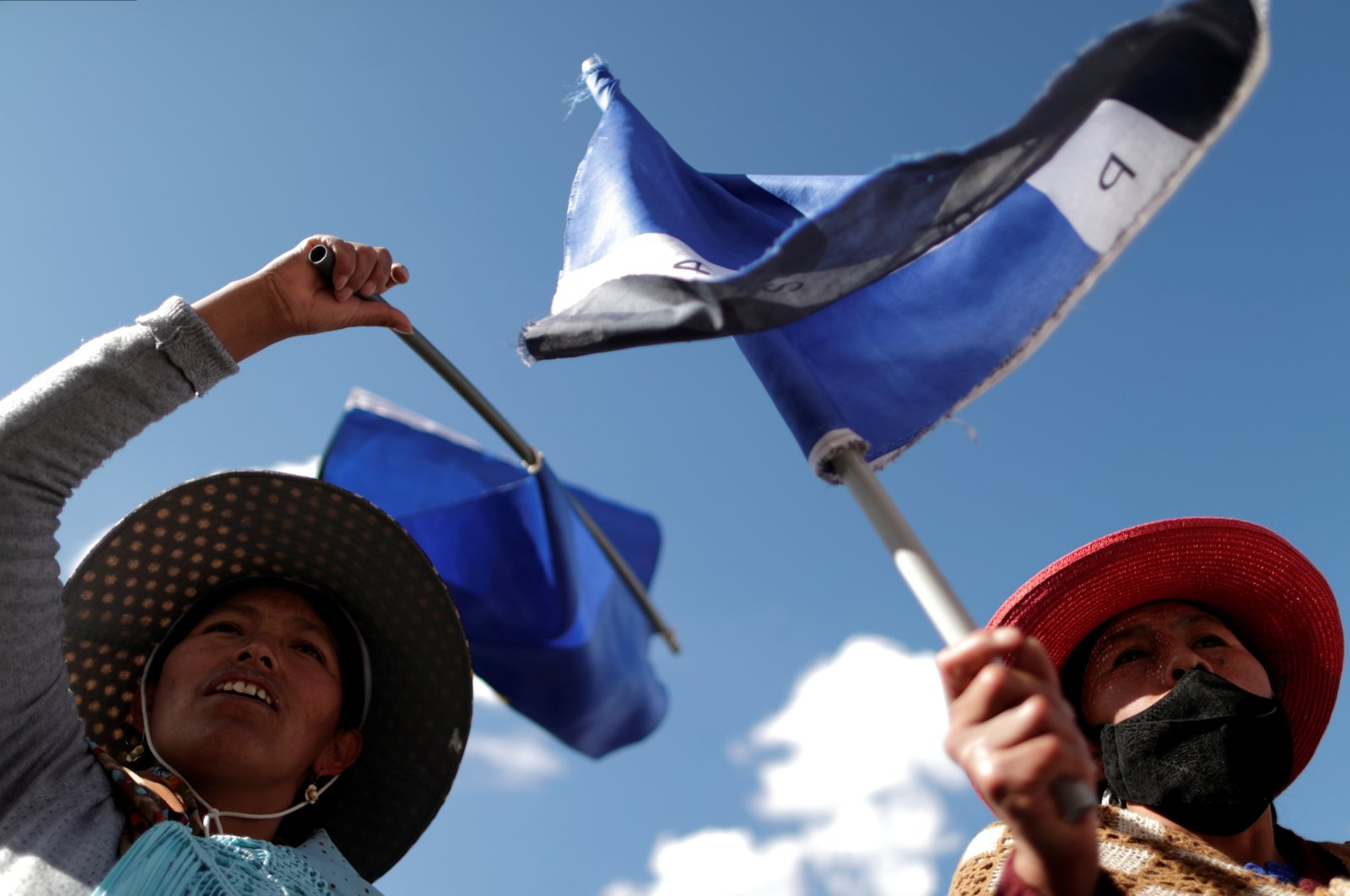 Supporters of the Movement to Socialism party (MAS) attend a rally a day after the nationwide election in El Alto, Bolivia, Oct. 19, 2020. (Reuters Photo)