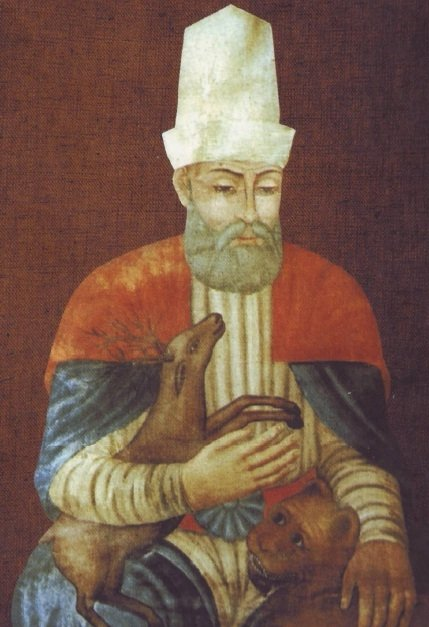 An anonymous miniature depicting Haji Bektash Veli.
