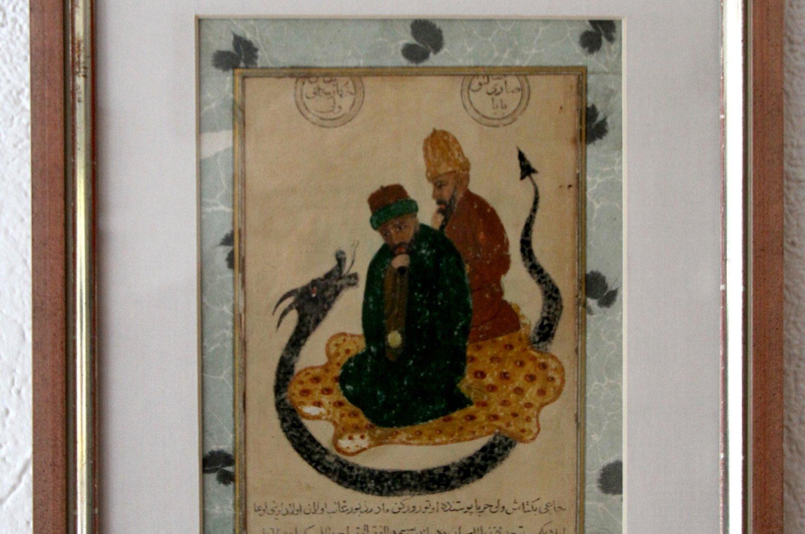 The painting depicting Haji Bektash Veli with Sarı Saltuk Baba is 22 by 17 centimeters. (AA Photo)