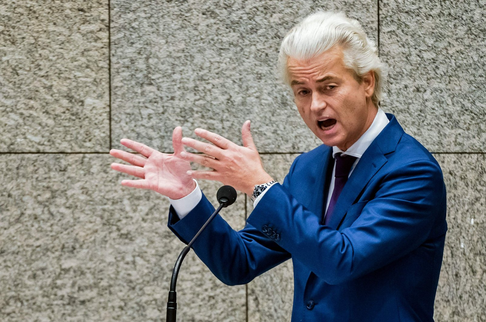 Leader of the Dutch far-right Party for Freedom (PVV) Geert Wilders speaks during a debate over developments surrounding the COVID-19 outbreak, during a plenary session in the House of Representatives in The Hague on Oct. 14, 2020. (AFP Photo)