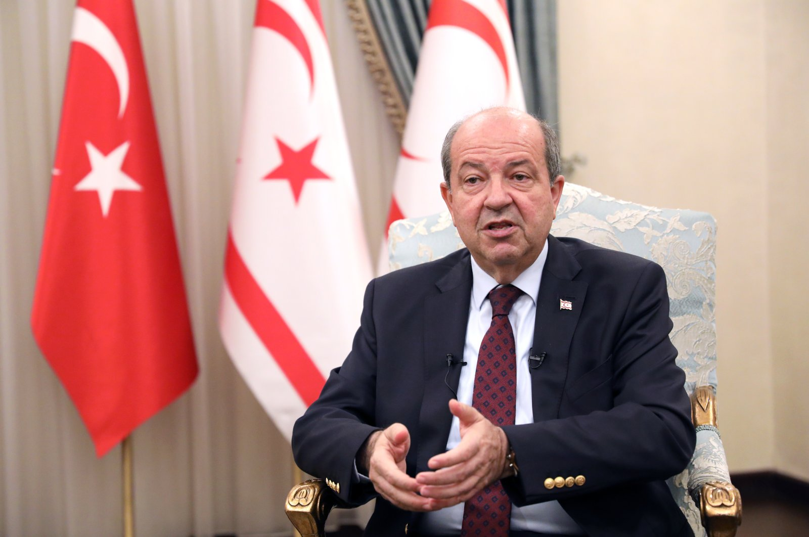 Turkish Cypriot President Tatar gives an interview to Anadolu Agency at the Presidency in Nicosia, Turkish Republic of Northern Cyprus, Oct. 25, 2020 (AA Photo)