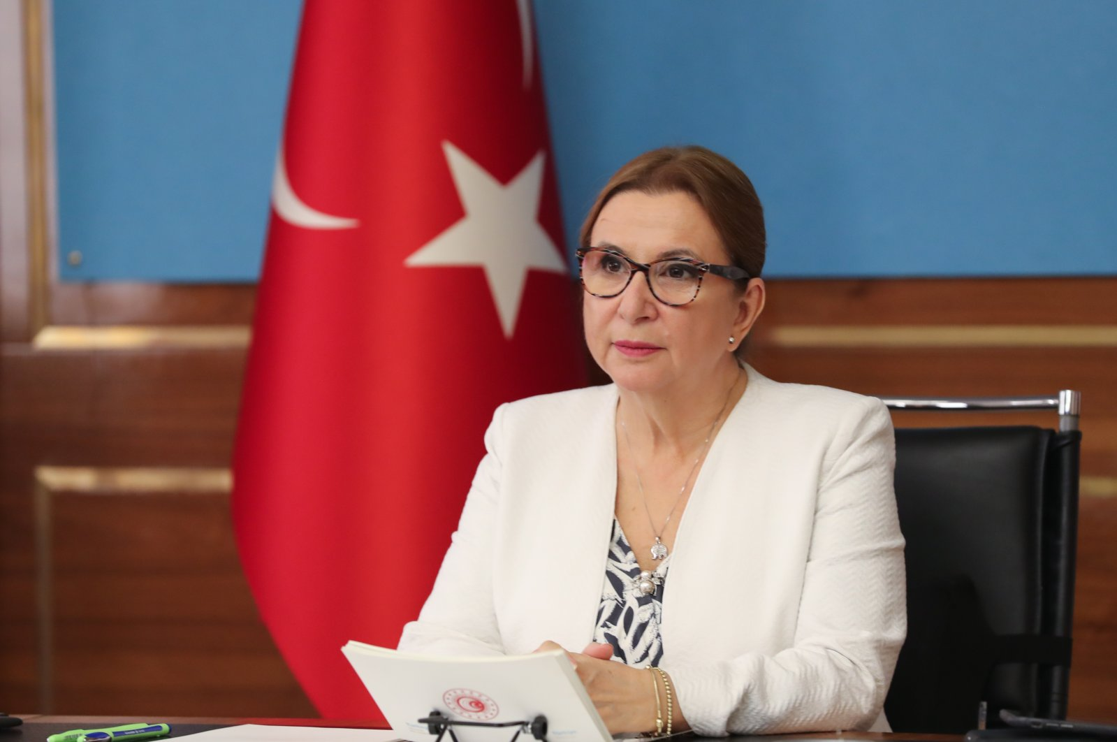 Trade Minister Ruhsar Pekcan speaks during a videoconference on Restructuring Global Supply Chains, Ankara, Turkey, Oct. 23, 2020. (AA Photo)