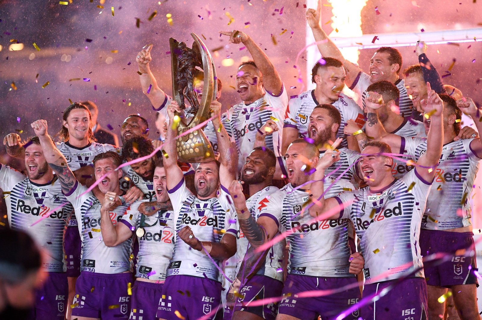 Melbourne Storm players celebrate with the trophy, in Sydney, Australia, Oct. 25, 2020. (REUTERS Photo)