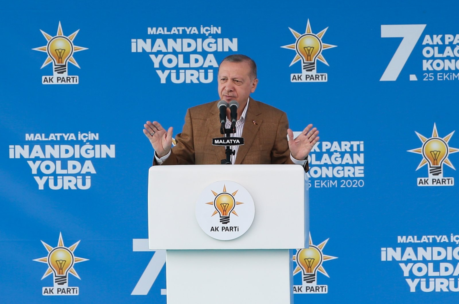 President Recep Tayyip Erdoğan speaks during a local congress of his ruling Justice and Development Party (AK Party) in eastern Turkey's Malatya. Oct. 25, 2020. (AA Photo)