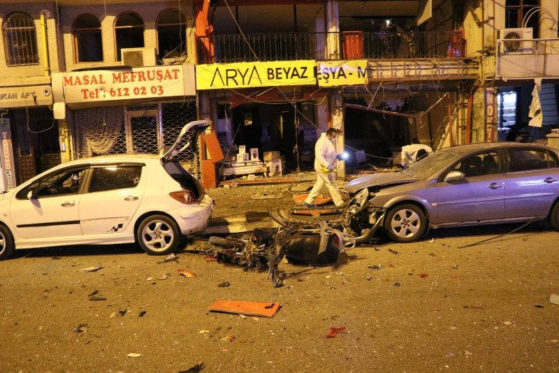 The scene in southern Hatay province's Iskenderun district in the aftermath of the PKK terror attack on Oct. 26, 2020. (DHA Photo)