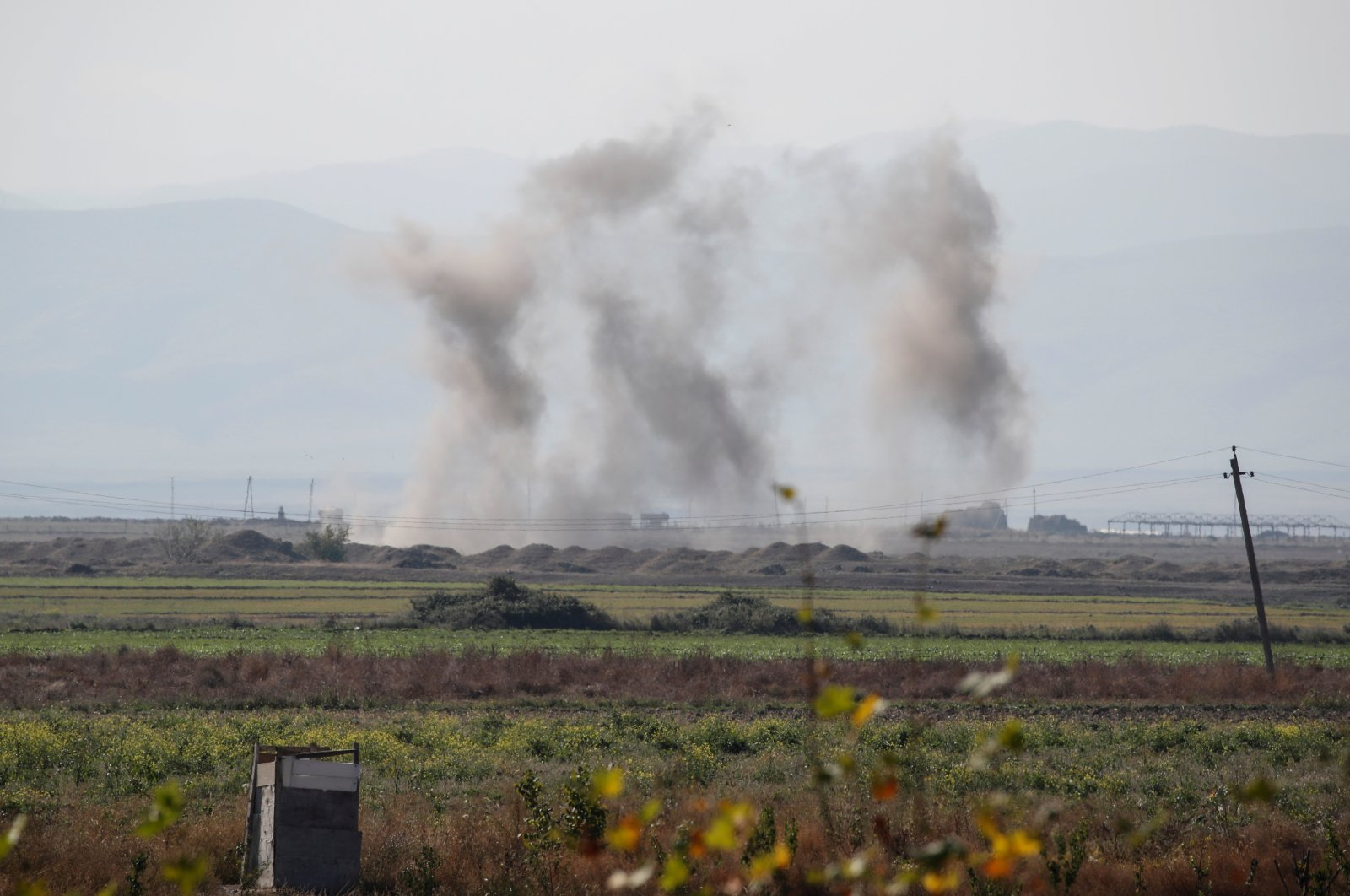 Smoke rises from Armenian shelling on Tartar, Azerbaijan, Oct. 23, 2020. (Reuters Photo)