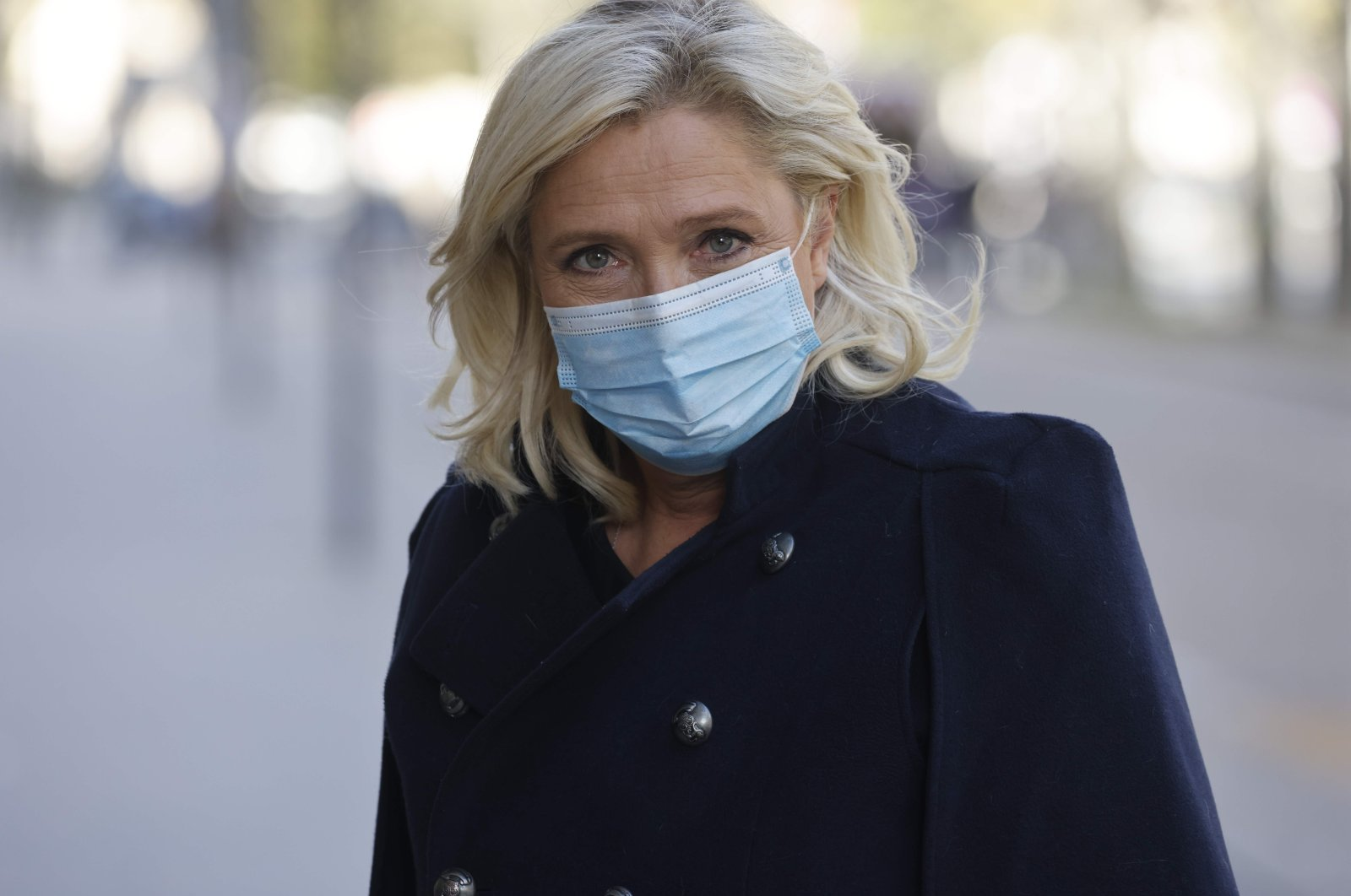 Head of far-right party Rassemblement National (RN) Marine Le Pen arrives for a meeting in Paris, Oct. 21, 2021. (AFP Photo)
