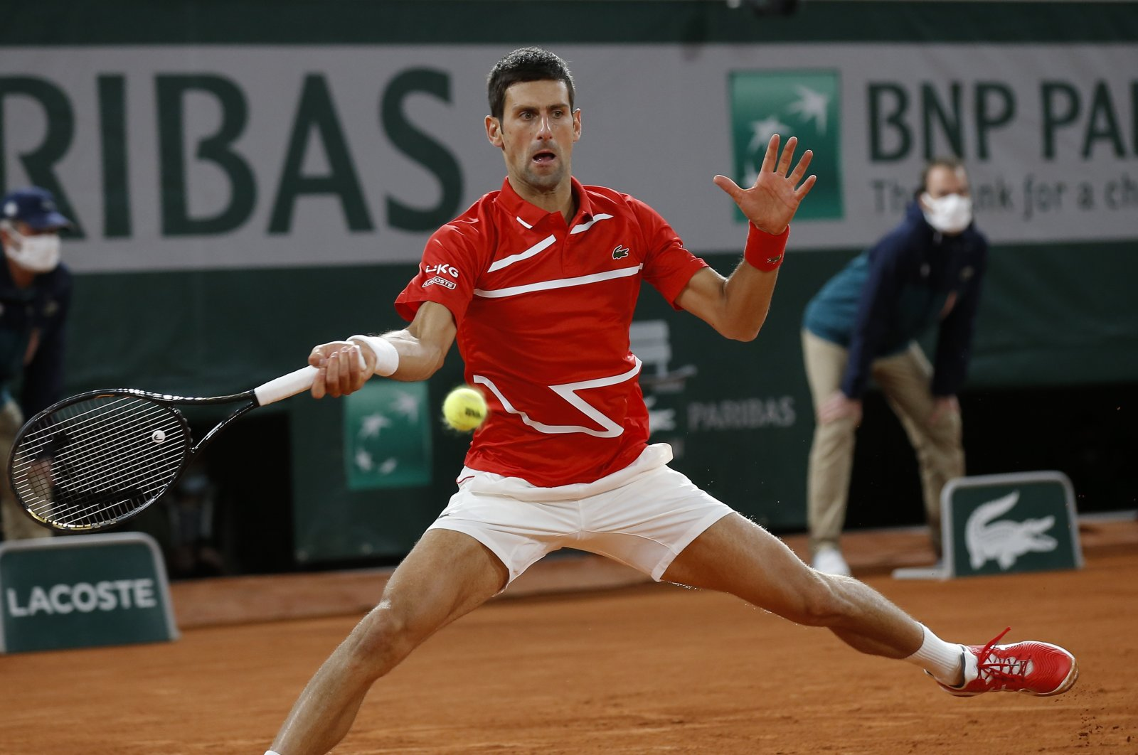 Novak Djokovic in action against Rafael Nadal during the French Open final, in Paris, France, Oct. 11, 2020. (AP Photo)