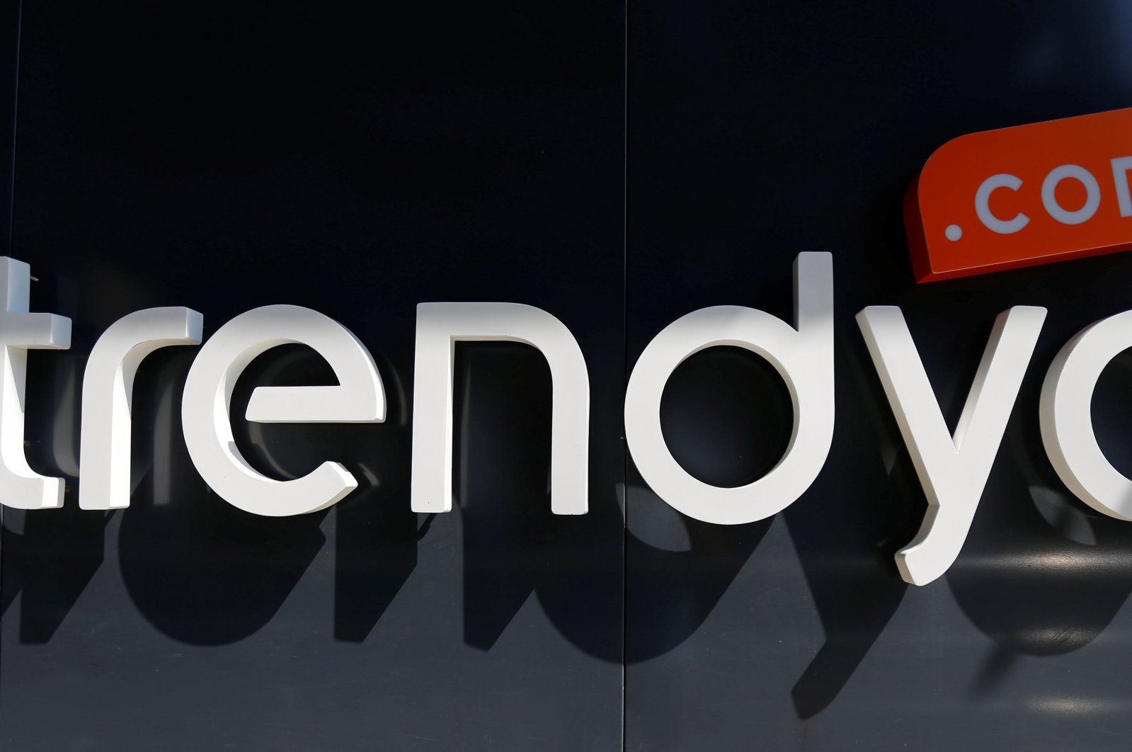 The logo of Turkey's leading e-commerce company Trendyol is pictured at the entrance of the company's headquarters in Istanbul, Turkey, June 22, 2016. (Reuters Photo)
