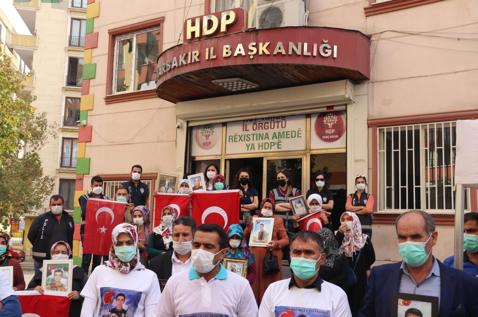 Families protesting in front of the pro-PKK Peoples' Democratic Party (HDP) in Diyarbakır province, criticized the party's lawmaker Meral Danış Beştaş for supporting the PKK on Oct. 25, 2020. (AA Photo)