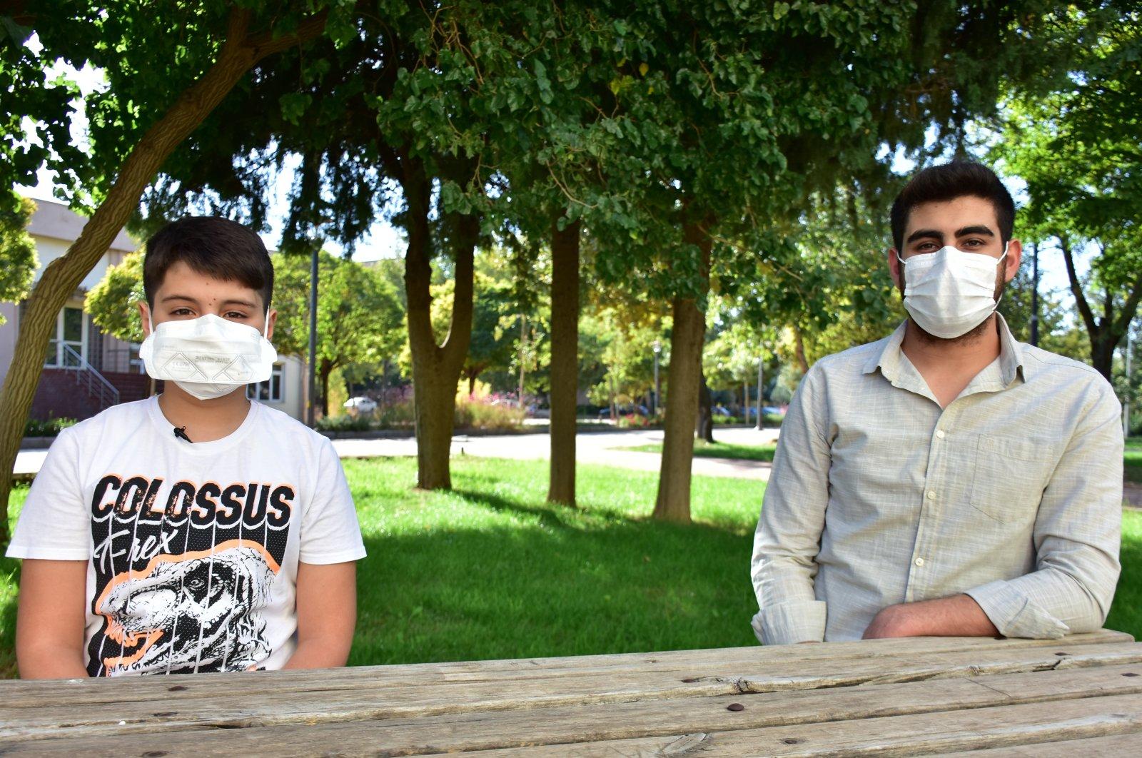 Yusuf Alperen (L) and Mehmet Emre (R) spoke about their coronavirus ordeal, in Gaziantep, southern Turkey, Oct. 26, 2020. (AA Photo)