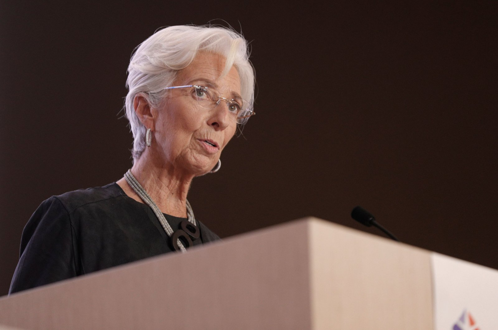 European Central Bank (ECB) President Christine Lagarde speaks during the 16th Congress of Regions (Congres des Regions) in Saint-Ouen, north of Paris, Oct. 19, 2020. (AFP Photo)