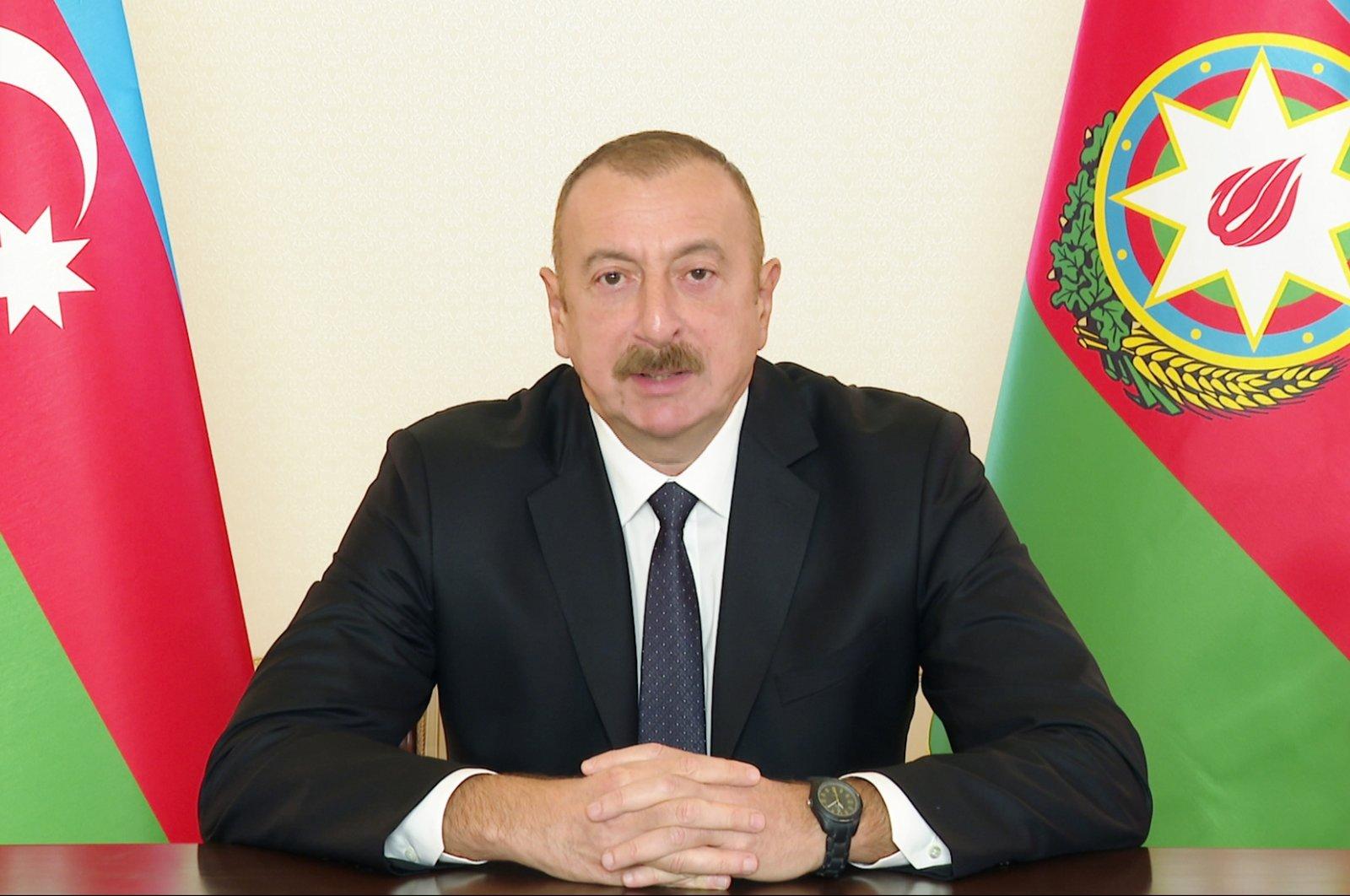 Azerbaijan's President Ilham Aliyev addresses the nation in the capital Baku, Oct. 26, 2020. (AA Photo)