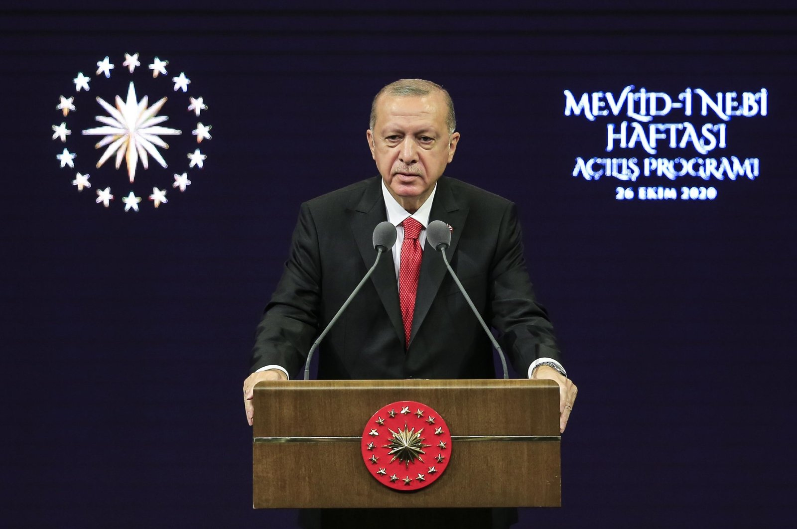 President Recep Tayyip Erdoğan speaks at an event organized for the Mawlid an-Nabi (the birth of the Prophet Muhammad) in the capital Ankara, Oct. 26, 2020. (AA)