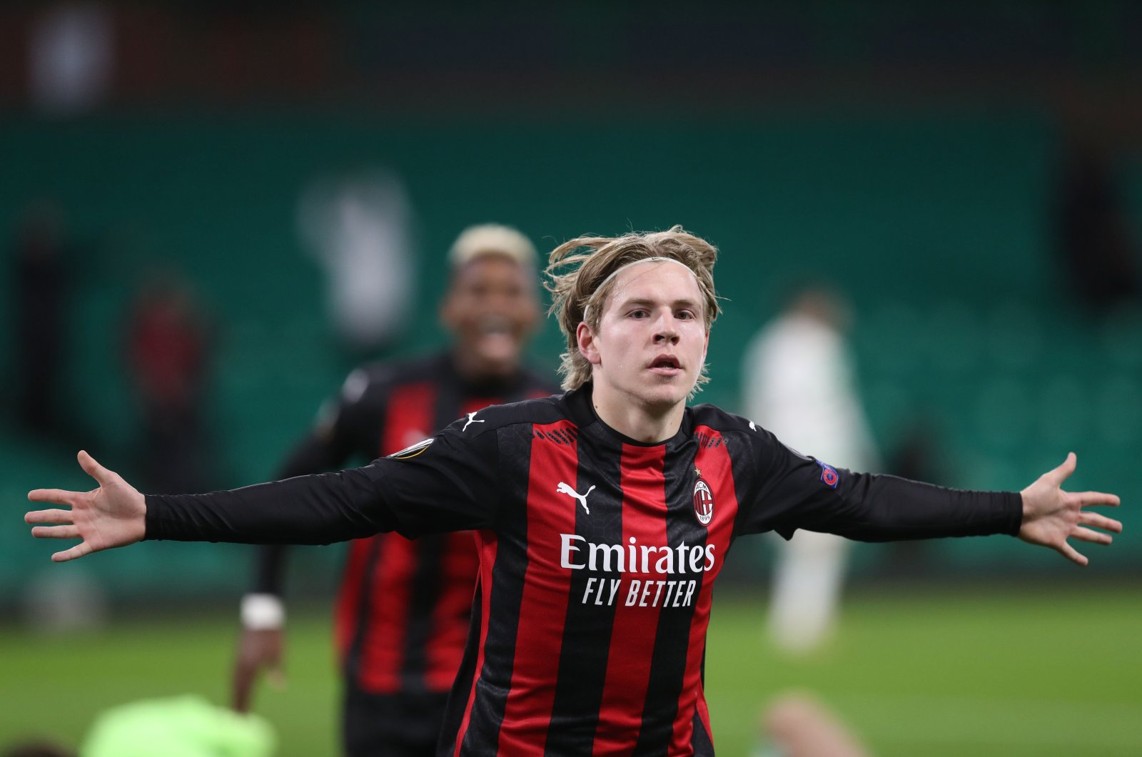 AC Milan's Jens Petter Hauge celebrates a goal during a Europa League match, in Glasgow, Scotland, Oct. 22, 2020. (AFP Photo)