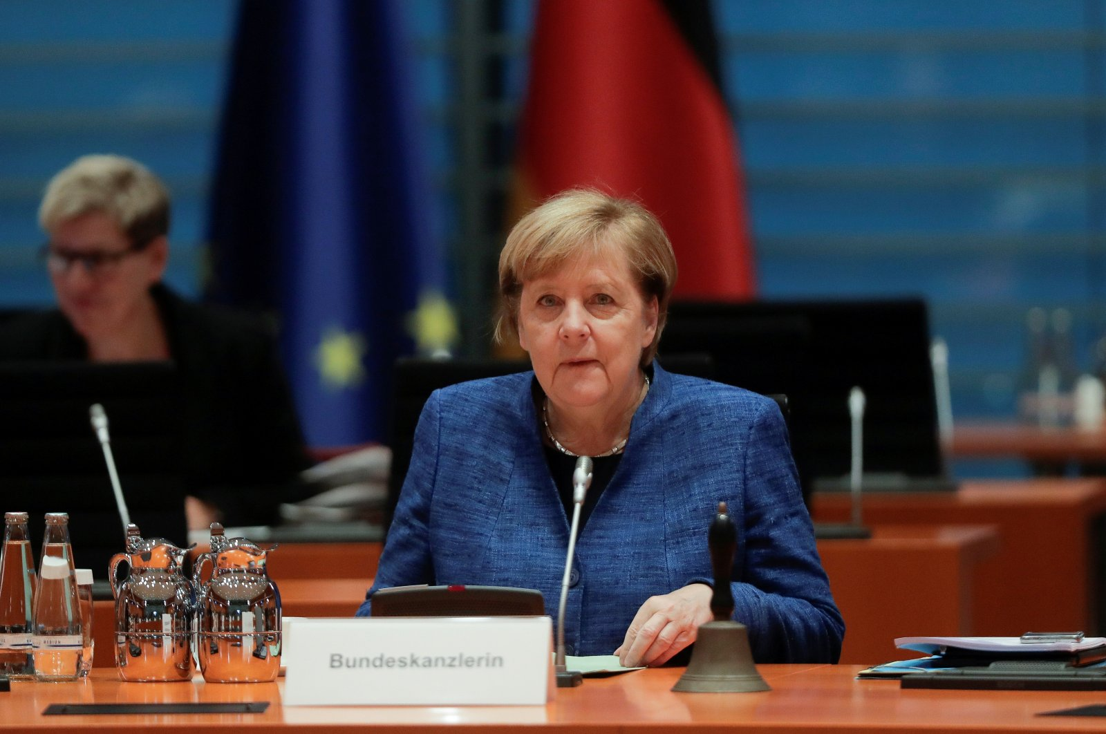 German Chancellor Angela Merkel attends the weekly Cabinet meeting of the government at the Chancellery, Berlin, Oct. 21, 2020. (REUTERS Photo)