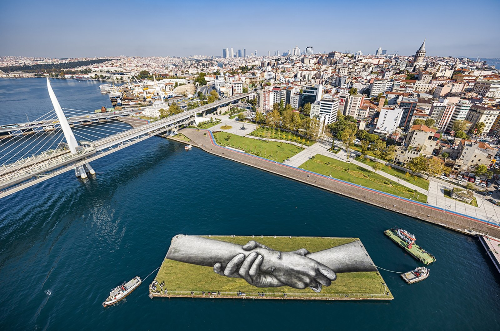 An aerial view from French artist Saype's land art on the Bosporus' Golden Horn in Istanbul on Oct. 26, 2020. (AA PHOTO)