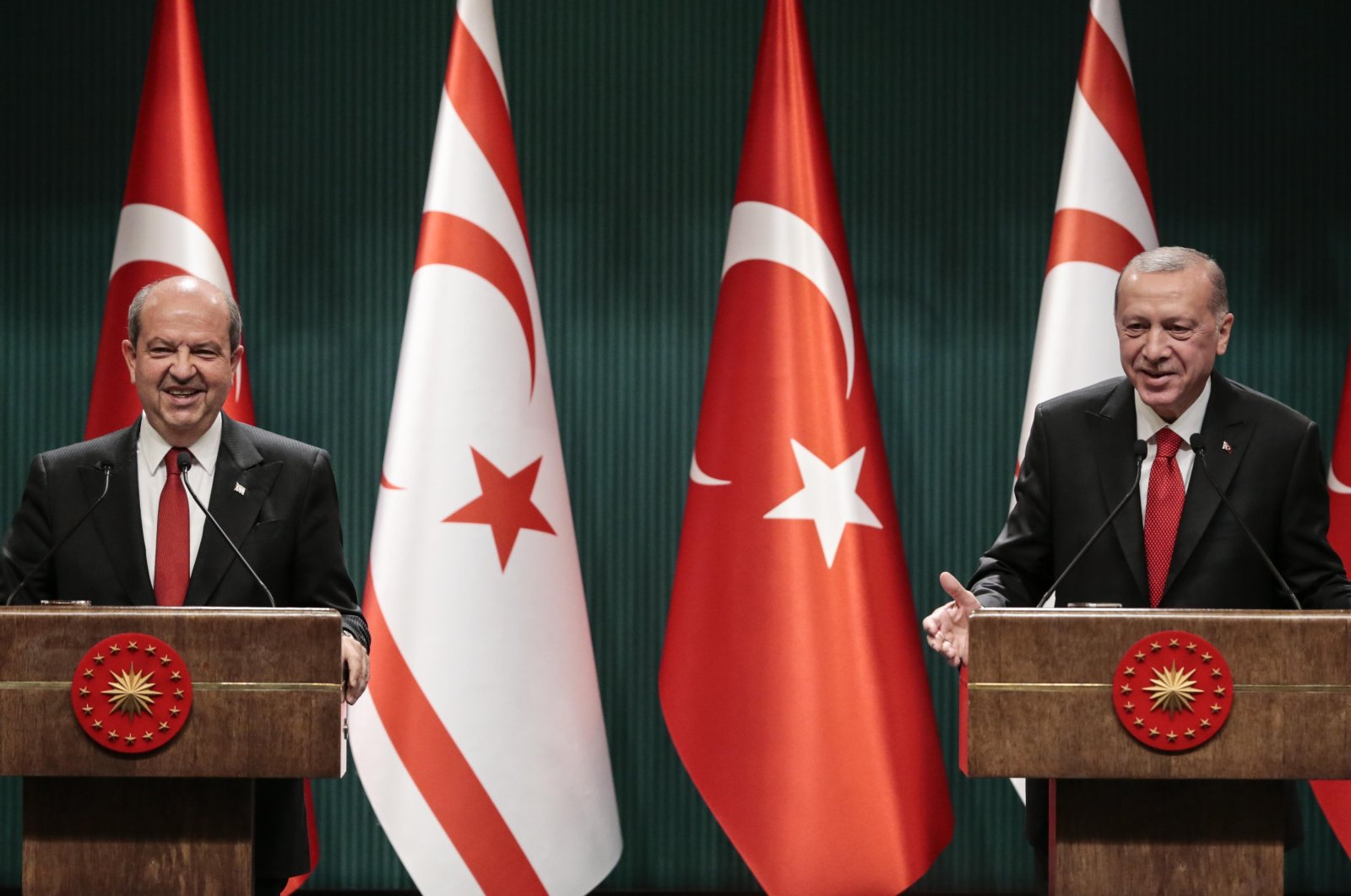 President Recep Tayyip Erdoğan, and Ersin Tatar, newly elected president of Turkish Republic of Northern Cyprus' (TRNC) speak to the media at a joint press conference after their talks, in Ankara, Oct. 26, 2020. (AA Photo)