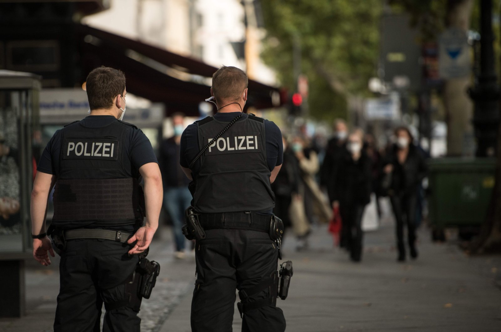 Police officers of the Federal Police patrol at Kurfuerstendamm, a popular shopping street in Berlin, Germany on Oct. 24, 2020. (AFP Photo)