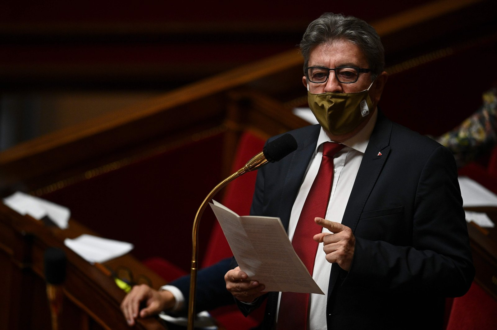 French leftist party La France Insoumise's (LFI) leader Jean-Luc Melenchon gestures as he speaks during a session at the National Assembly in Paris on Oct. 20, 2020. (AFP Photo)