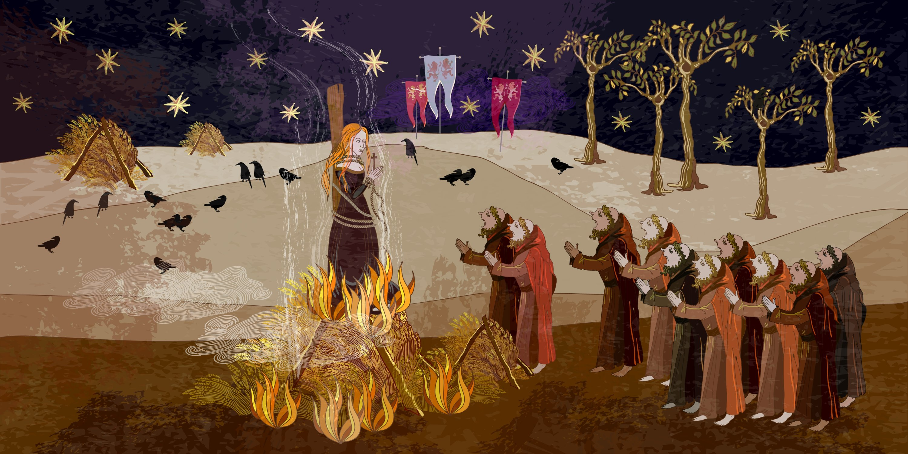 An artist's illustration of the burning of the witches in the Middle Ages, parchment style. (Shutterstock Photo)