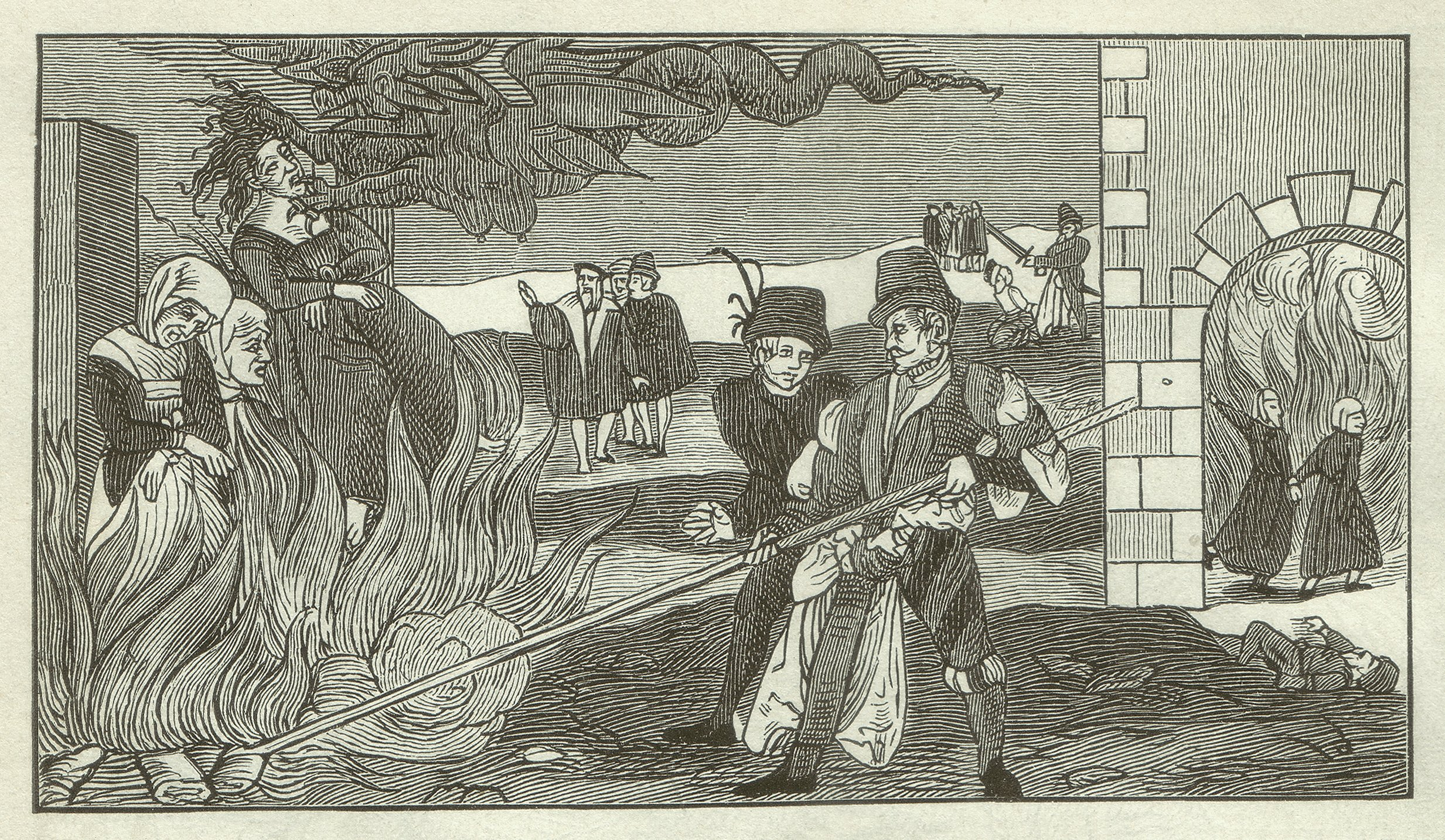 Witch-burning in the county Reinstein of Regenstein, Saxony-Anhalt state in Germany in 1555. Woodcut engraving after leaflet in the Collections of the Germanisches Nationalmusem in Nuremberg, published in 1881. (iStock Photo)