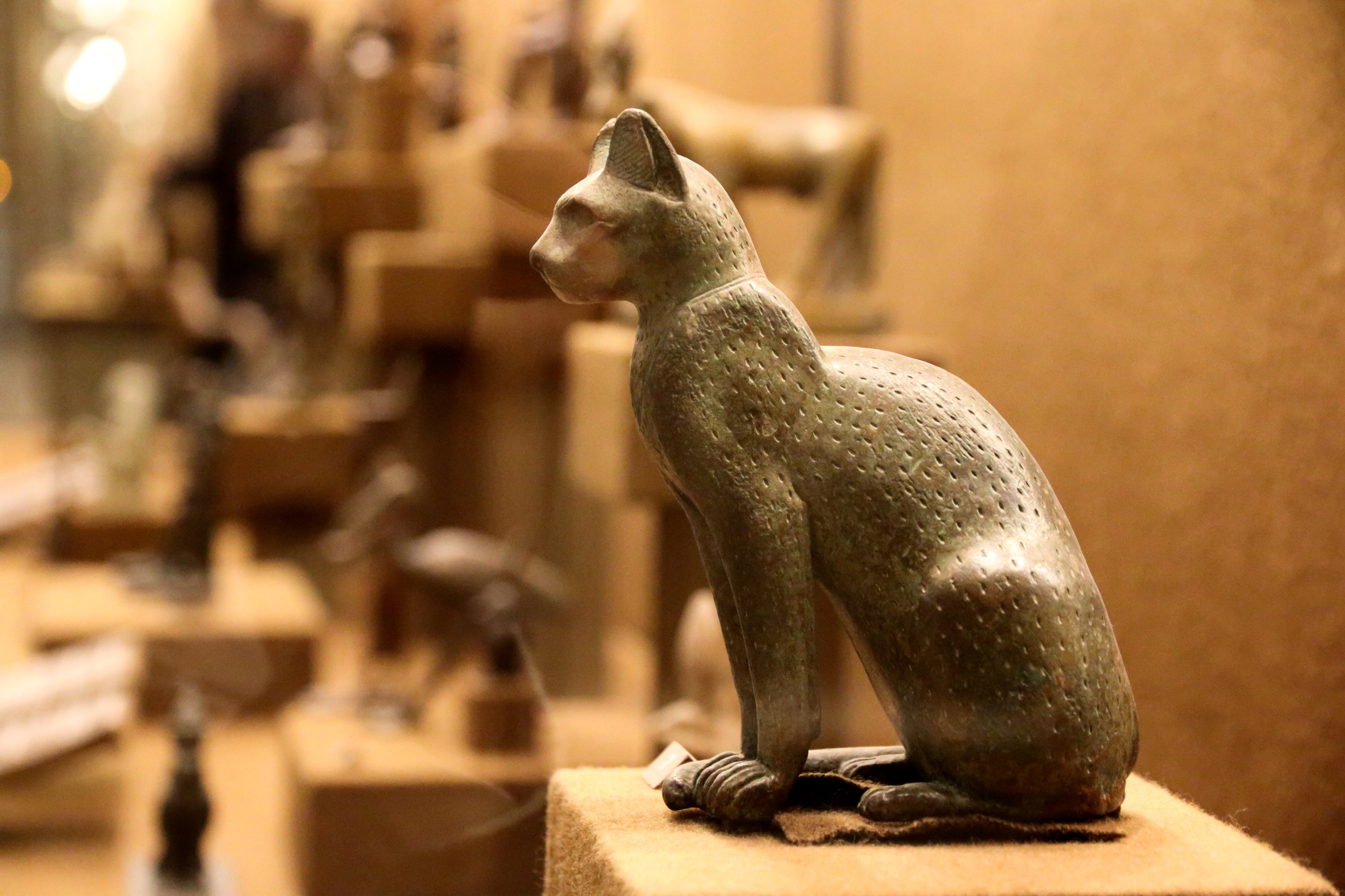 An ancient bronze statue of goddess Bastet as a cat from old Egypt at the Hermitage Museum in Saint Petersburg, Russia, Sept. 13, 2016. (Shutterstock Photo)
