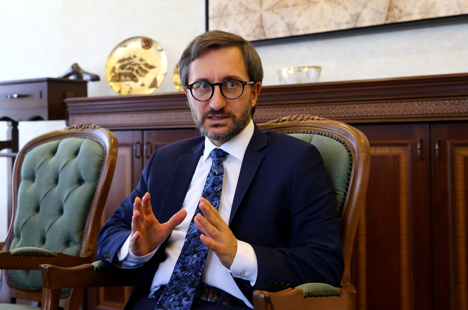 Presidential Communications Director Fahrettin Altun gestures during an interview with Anadolu Agency (AA) on Oct. 7, 2019. (AA File Photo)