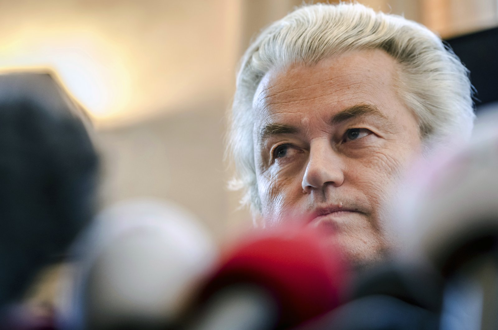 Dutch far-right leader Geert Wilders addresses the media at the Belgian Federal Parliament in Brussels, Nov. 3, 2017. (AP File Photo)