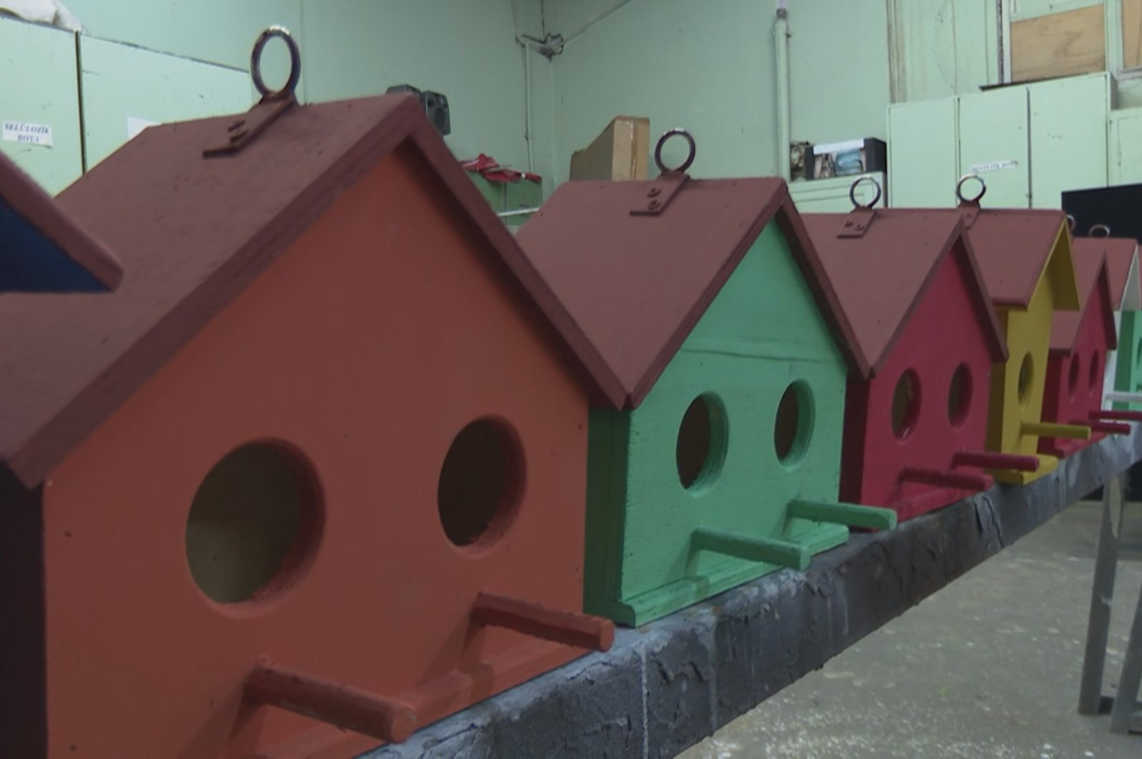 A view of the birdhouses made from props in a workshop, in Istanbul, Turkey, Oct. 27, 2020. (DHA Photo)