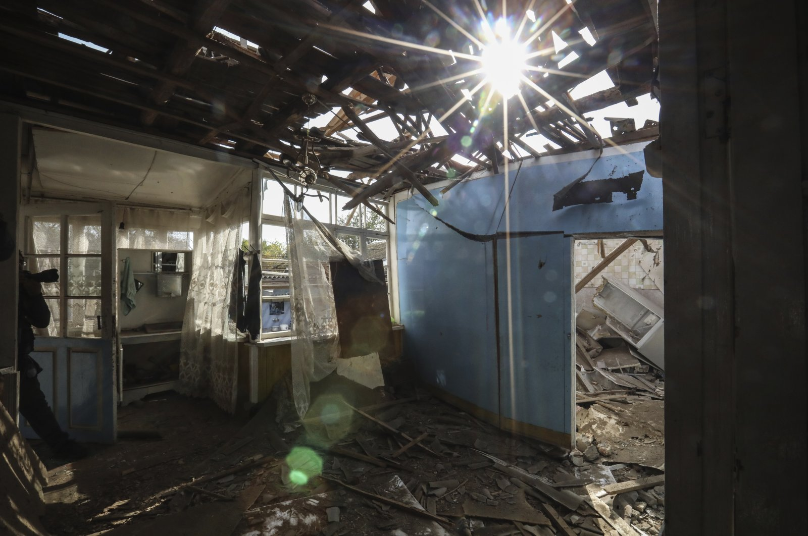 A view inside a destroyed house in a residential area after shelling by Armenian forces in Tartar, the capital of the Tartar region of Azerbaijan, Oct. 26, 2020. (AP Photo)