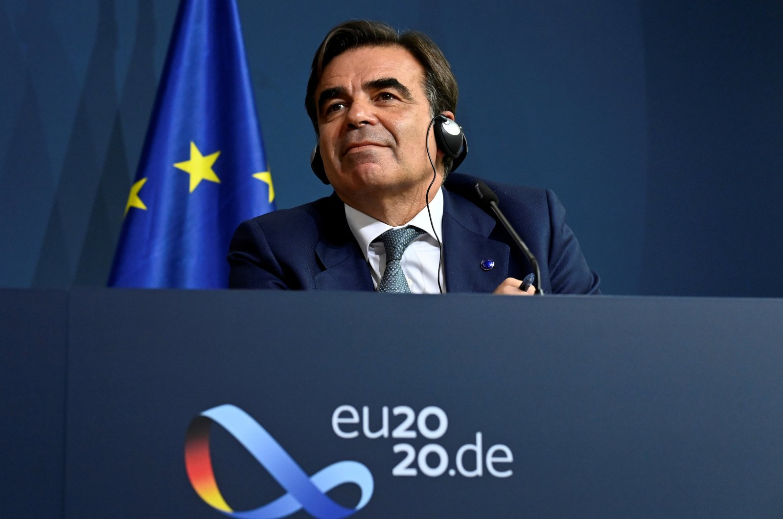European Commissioner for Promoting the European Way of Life Margaritis Schinas speaks to the media at the Federal Ministry of the Interior, Berlin, Sept. 28, 2020. (REUTERS Photo)