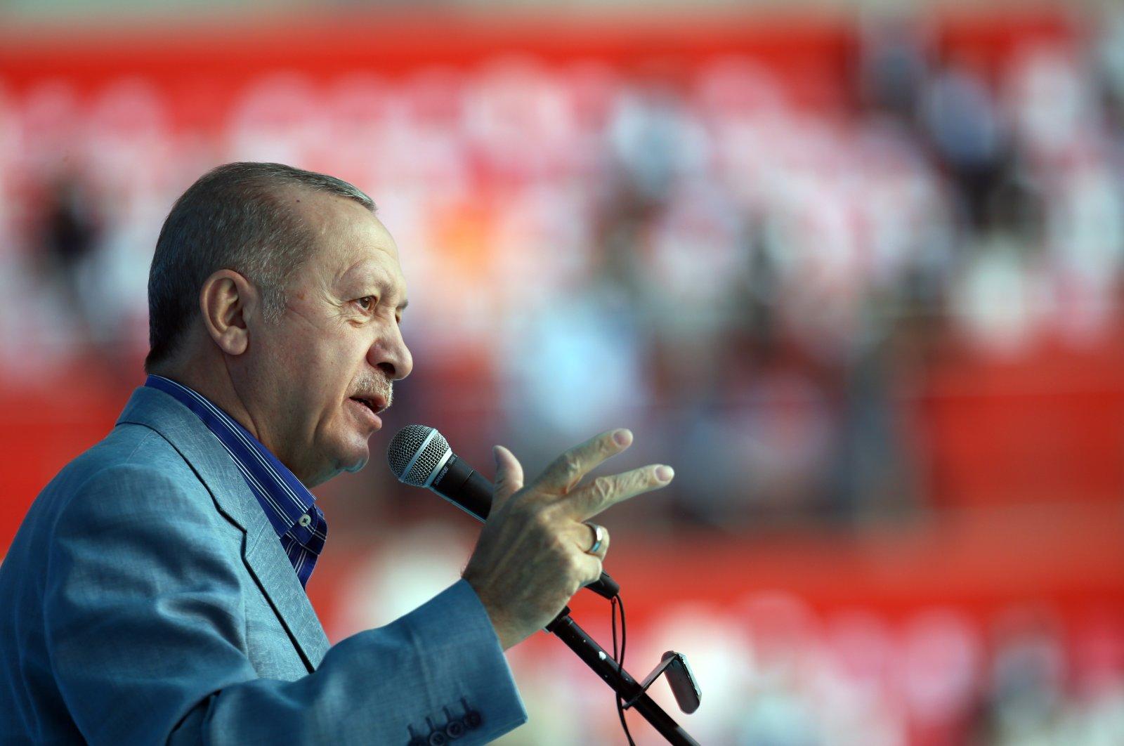 President Recep Tayyip Erdoğan speaks at an AK Party rally in Kayseri province on Oct. 24, 2020 (AA Photo)