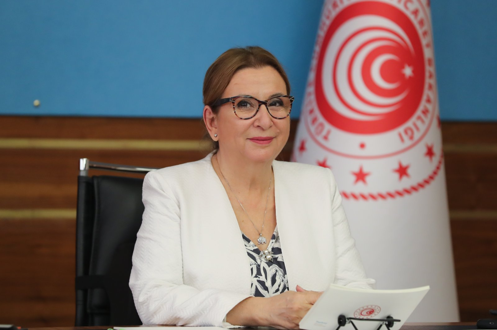 Trade Minister Ruhsar Pekcan attends the Global Forum on Steel Excess Capacity's ministers meeting via videoconference, Ankara, Turkey, Oct. 27, 2020. (AA Photo)